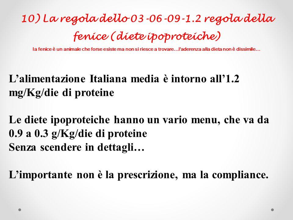 L'alimentazione Italiana media è intorno all'1.2 mg/Kg/die di proteine