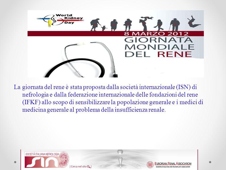 La giornata del rene è stata proposta dalla società internazionale (ISN) di nefrologia e dalla federazione internazionale delle fondazioni del rene (IFKF) allo scopo di sensibilizzare la popolazione generale e i medici di medicina generale al problema della insufficienza renale.