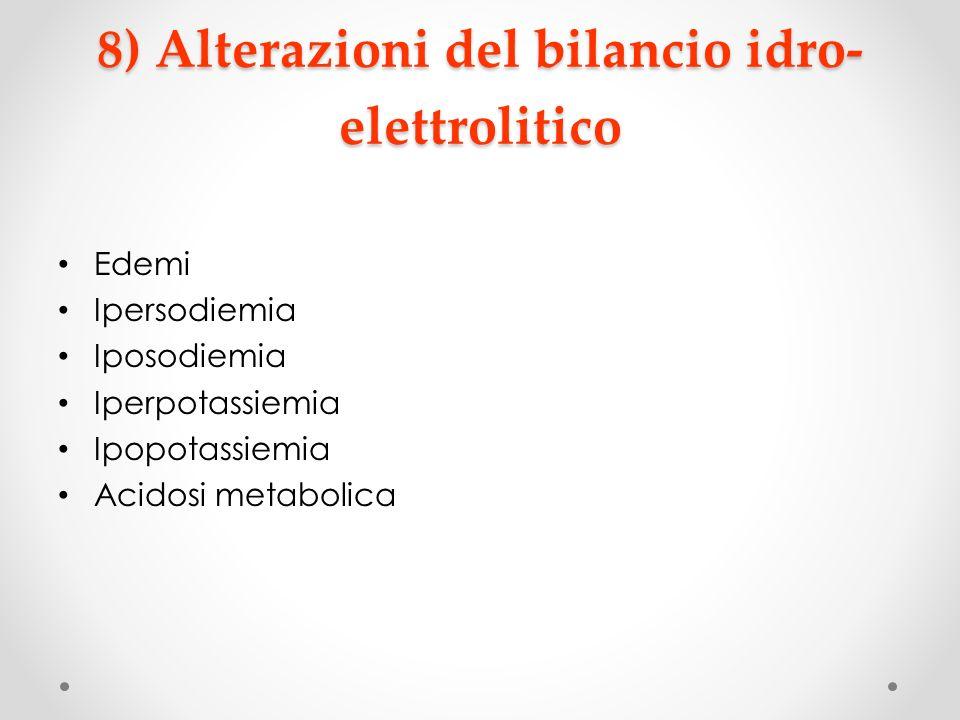 8) Alterazioni del bilancio idro-elettrolitico