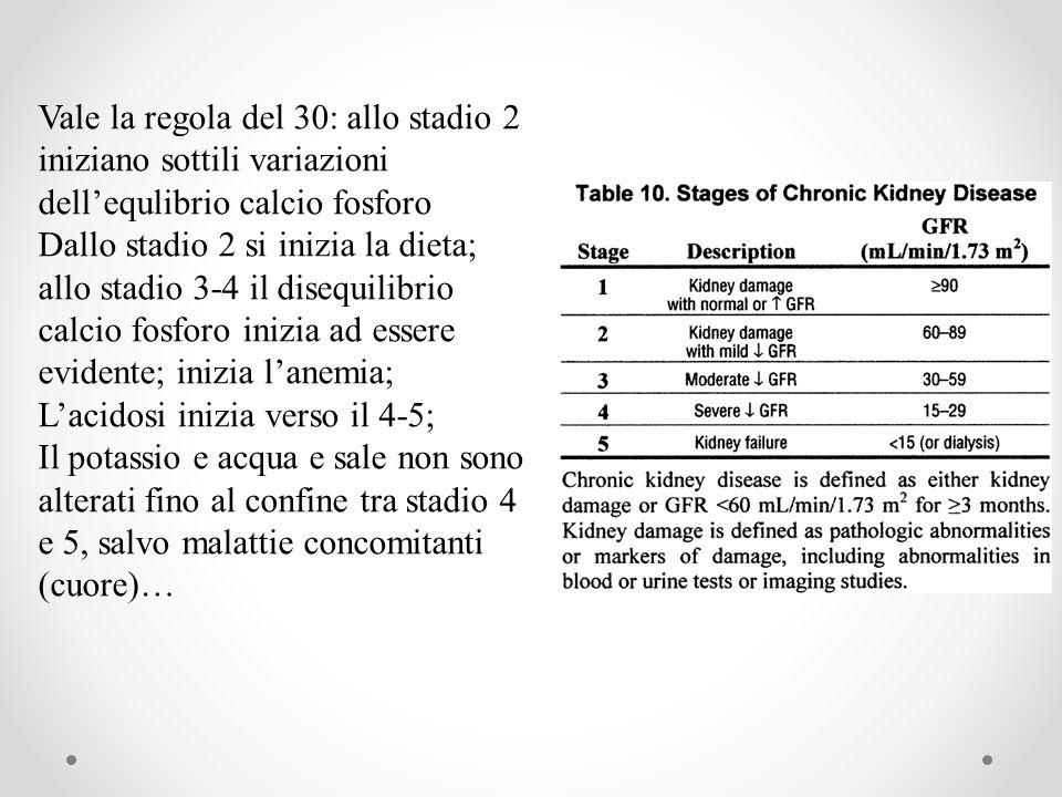 Vale la regola del 30: allo stadio 2 iniziano sottili variazioni dell'equlibrio calcio fosforo