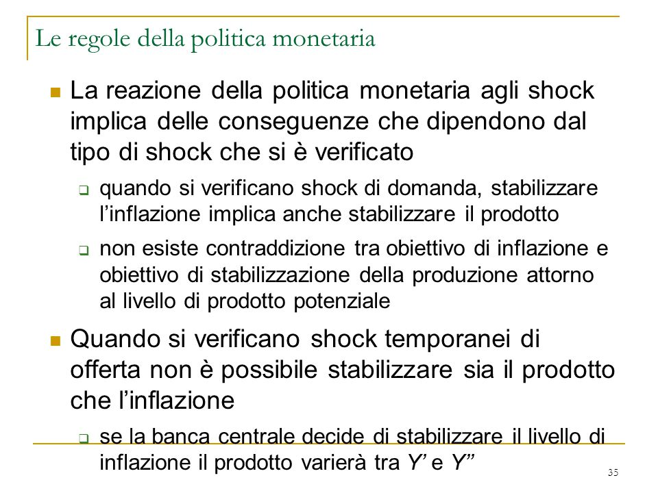 Le regole della politica monetaria