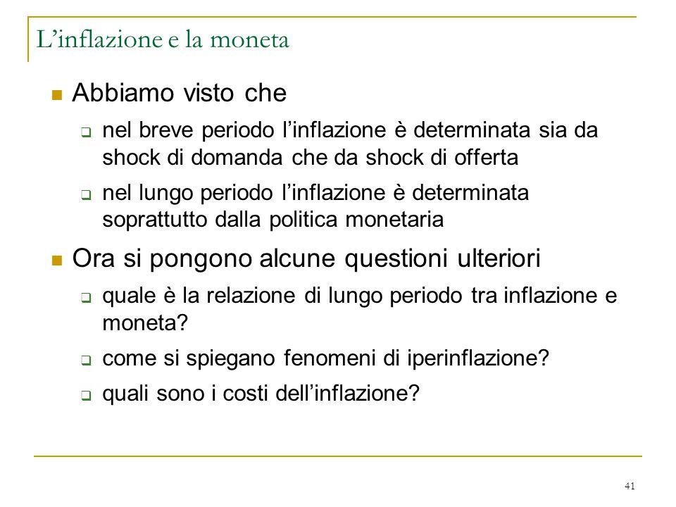 L'inflazione e la moneta