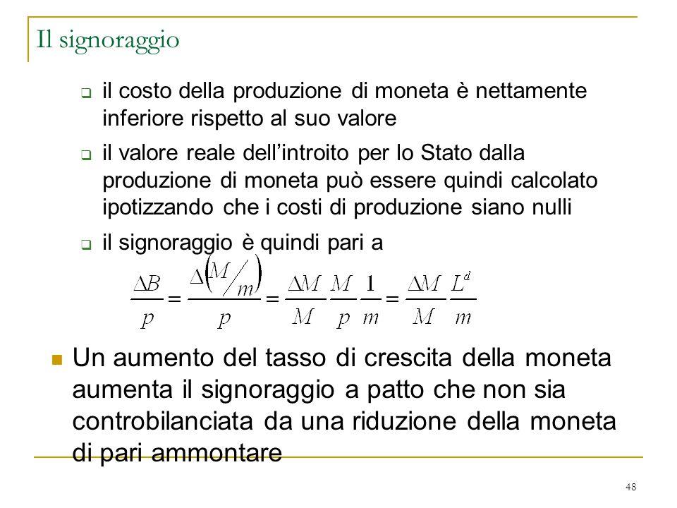 Il signoraggio il costo della produzione di moneta è nettamente inferiore rispetto al suo valore.