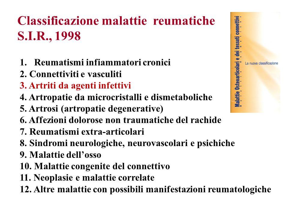 Classificazione malattie reumatiche S.I.R., 1998