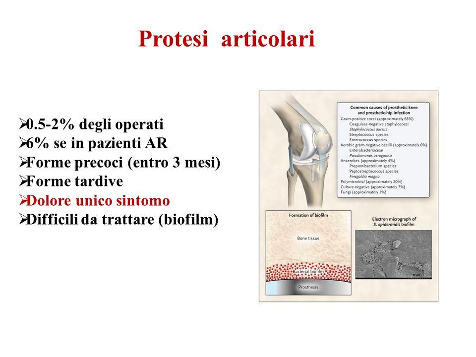 Protesi articolari 0.5-2% degli operati 6% se in pazienti AR