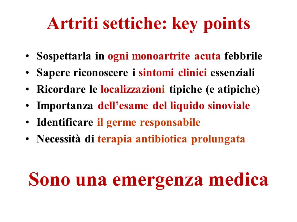 Artriti settiche: key points