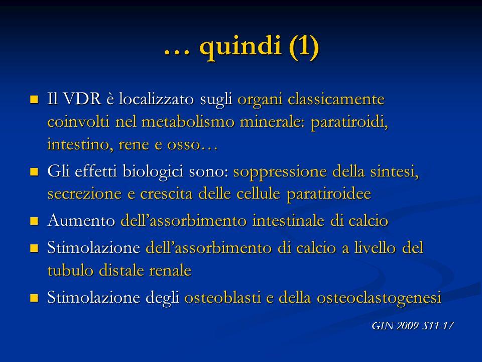 … quindi (1)Il VDR è localizzato sugli organi classicamente coinvolti nel metabolismo minerale: paratiroidi, intestino, rene e osso…