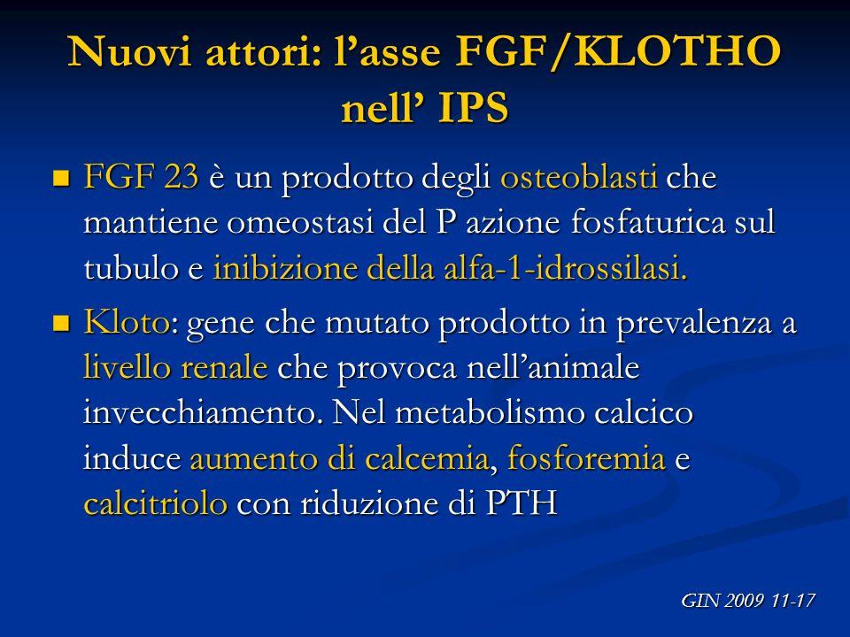 Nuovi attori: l'asse FGF/KLOTHO nell' IPS