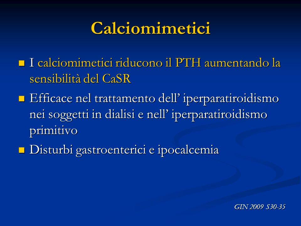 Calciomimetici I calciomimetici riducono il PTH aumentando la sensibilità del CaSR.