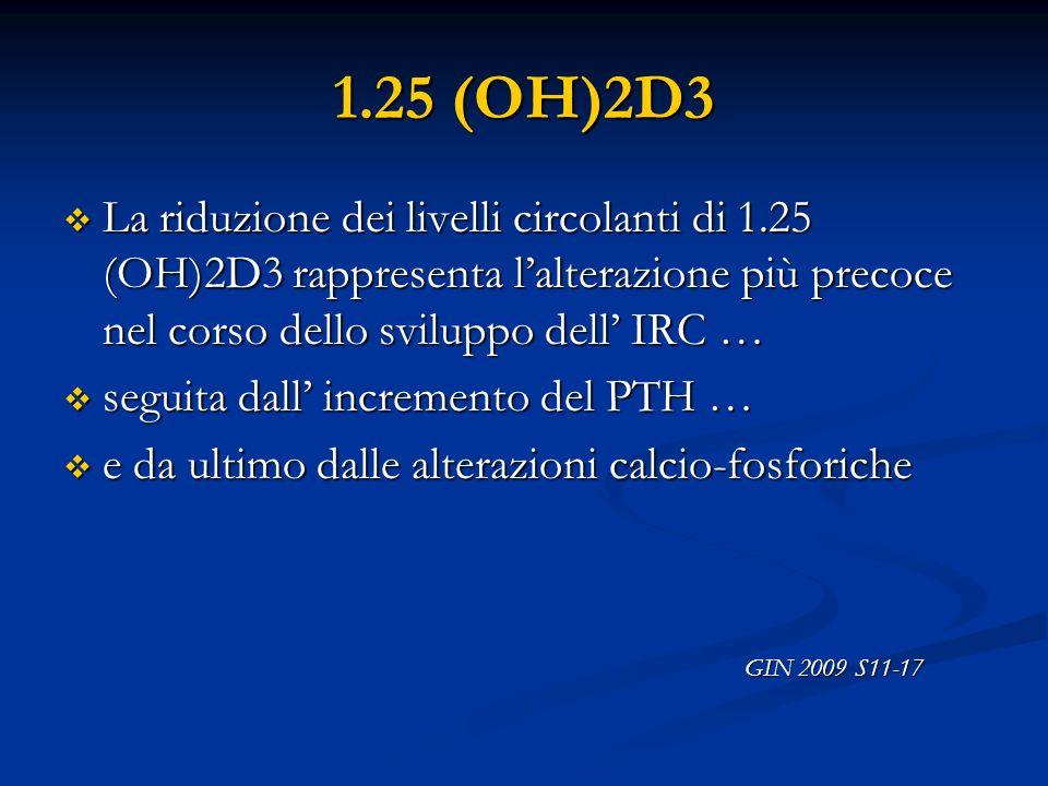 1.25 (OH)2D3La riduzione dei livelli circolanti di 1.25 (OH)2D3 rappresenta l'alterazione più precoce nel corso dello sviluppo dell' IRC …
