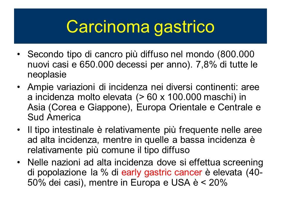 Carcinoma gastrico Secondo tipo di cancro più diffuso nel mondo (800.000 nuovi casi e 650.000 decessi per anno). 7,8% di tutte le neoplasie.