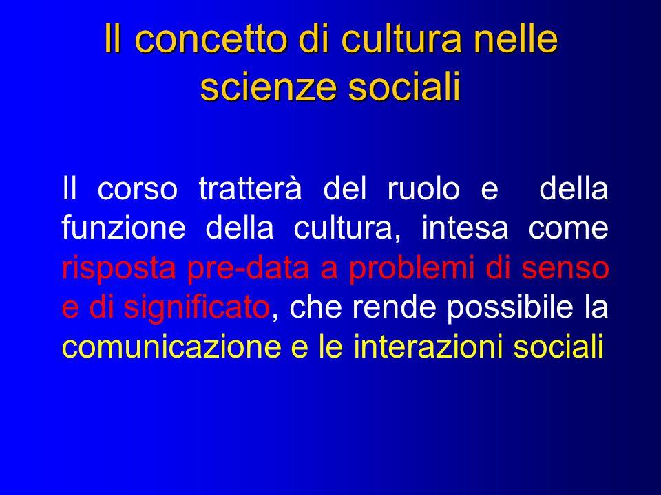 Il concetto di cultura nelle scienze sociali