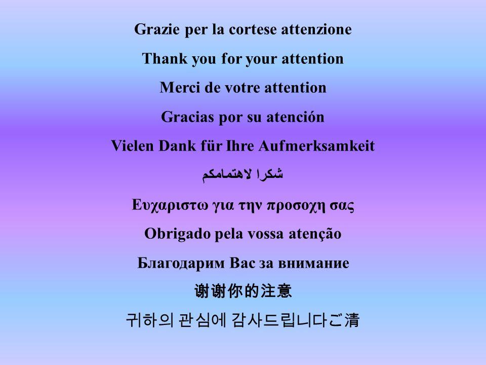 Grazie per la cortese attenzione Thank you for your attention