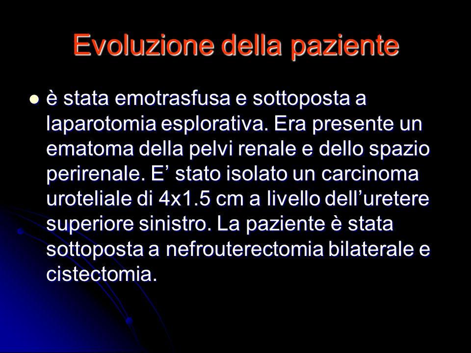 Evoluzione della paziente