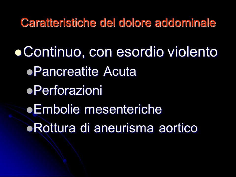 Caratteristiche del dolore addominale