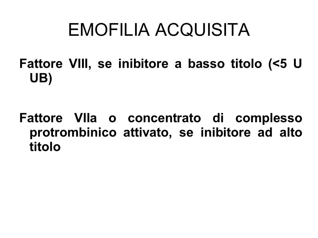 EMOFILIA ACQUISITAFattore VIII, se inibitore a basso titolo (<5 U UB)