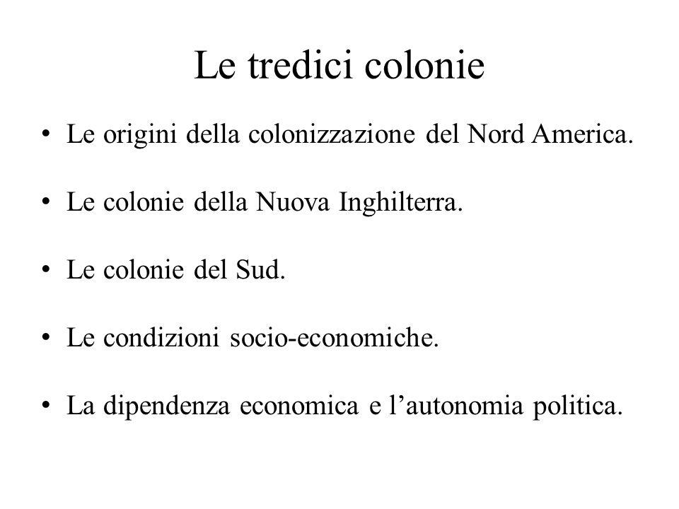 Le tredici colonie Le origini della colonizzazione del Nord America.