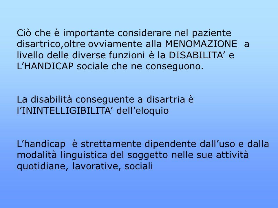 Ciò che è importante considerare nel paziente disartrico,oltre ovviamente alla MENOMAZIONE a livello delle diverse funzioni è la DISABILITA' e L'HANDICAP sociale che ne conseguono.