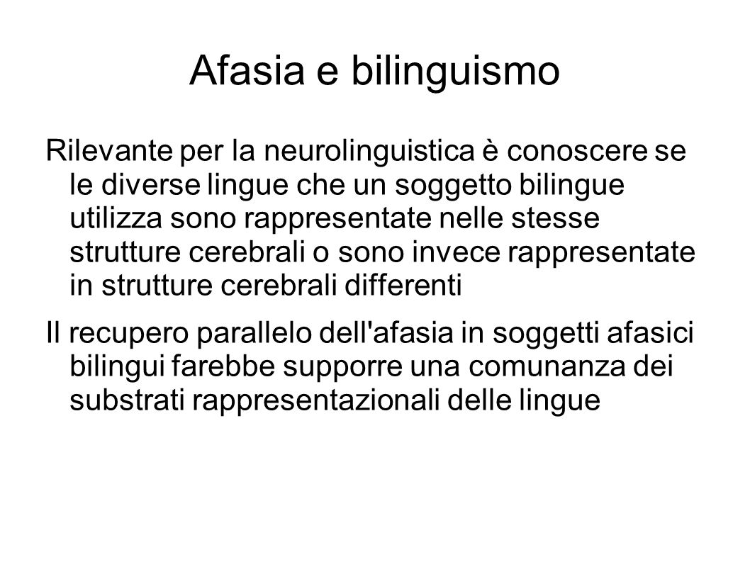 Afasia e bilinguismo