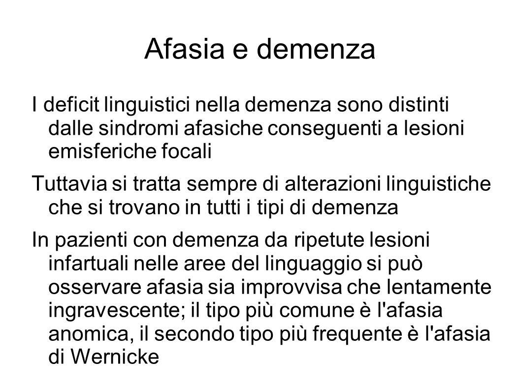 Afasia e demenza I deficit linguistici nella demenza sono distinti dalle sindromi afasiche conseguenti a lesioni emisferiche focali.
