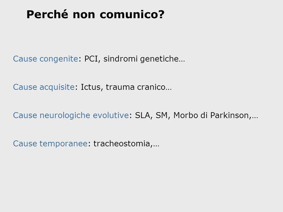 Perché non comunico Cause congenite: PCI, sindromi genetiche…