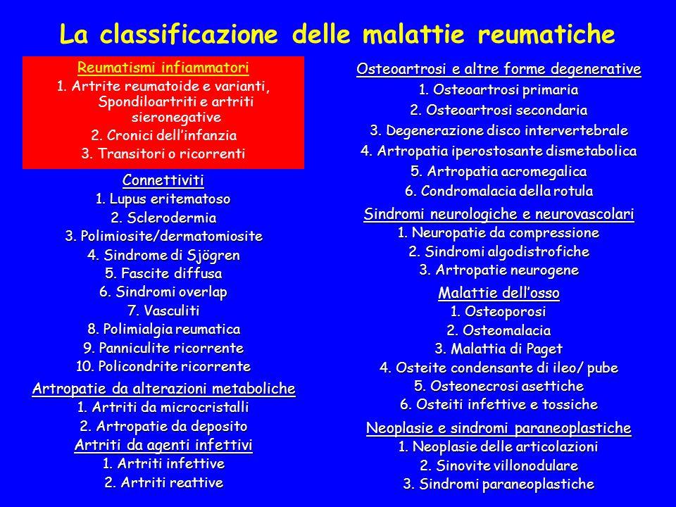 La classificazione delle malattie reumatiche