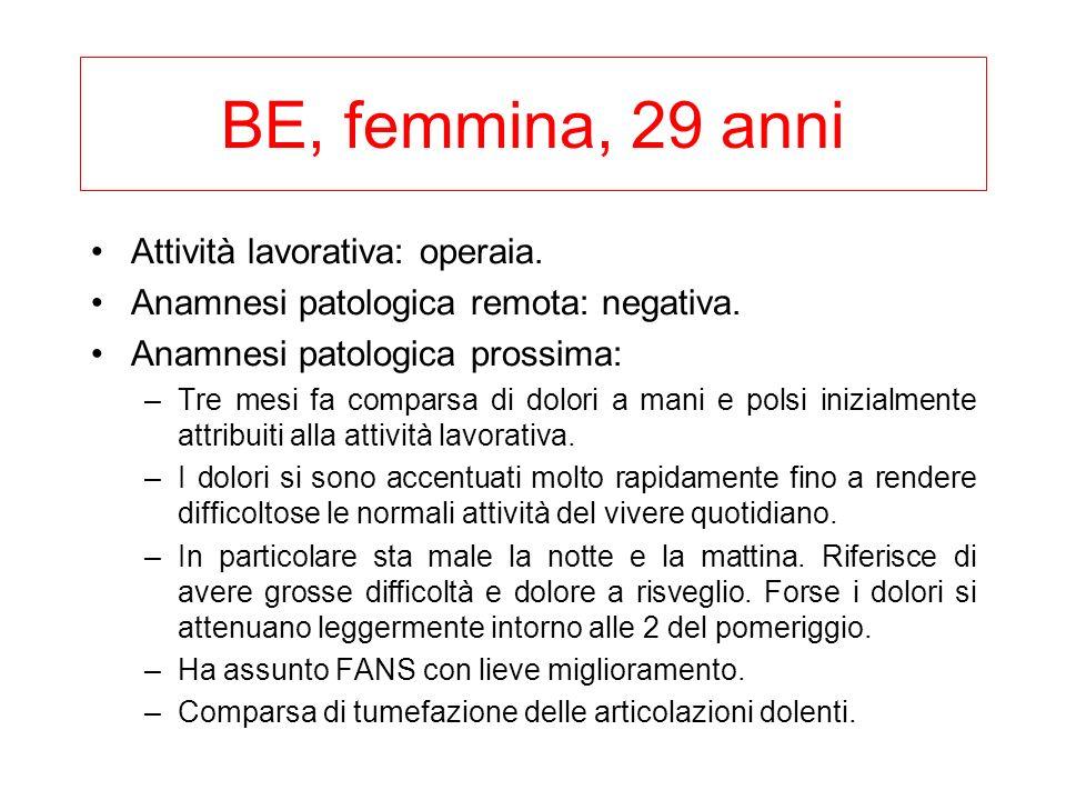 BE, femmina, 29 anni Attività lavorativa: operaia.
