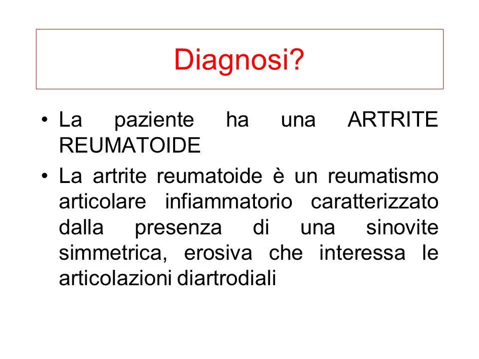 Diagnosi La paziente ha una ARTRITE REUMATOIDE