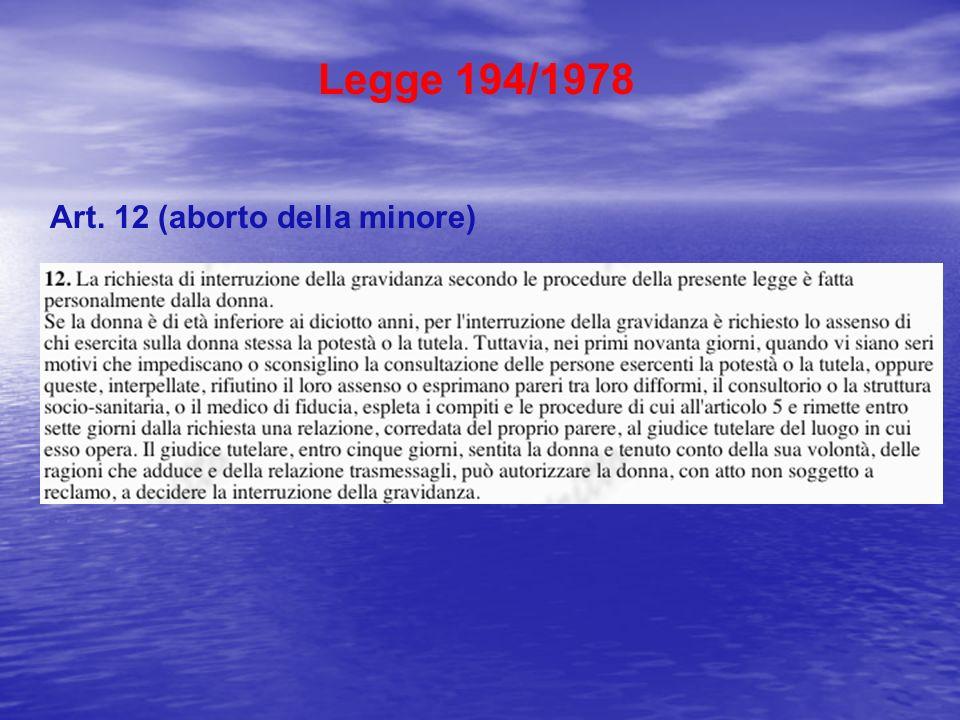Legge 194/1978 Art. 12 (aborto della minore)