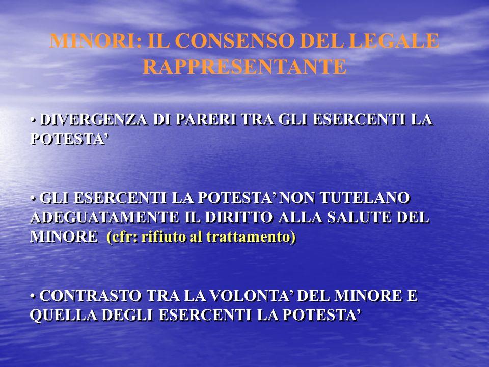 MINORI: IL CONSENSO DEL LEGALE RAPPRESENTANTE