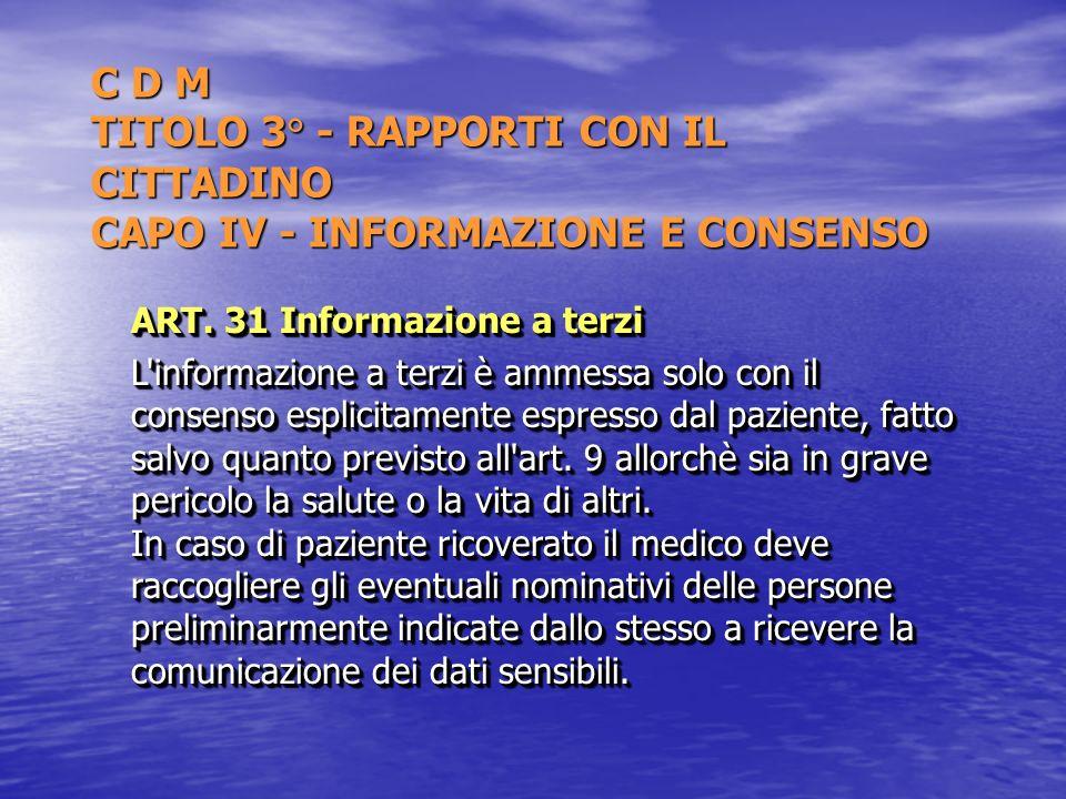 C D M TITOLO 3° - RAPPORTI CON IL CITTADINO CAPO IV - INFORMAZIONE E CONSENSO
