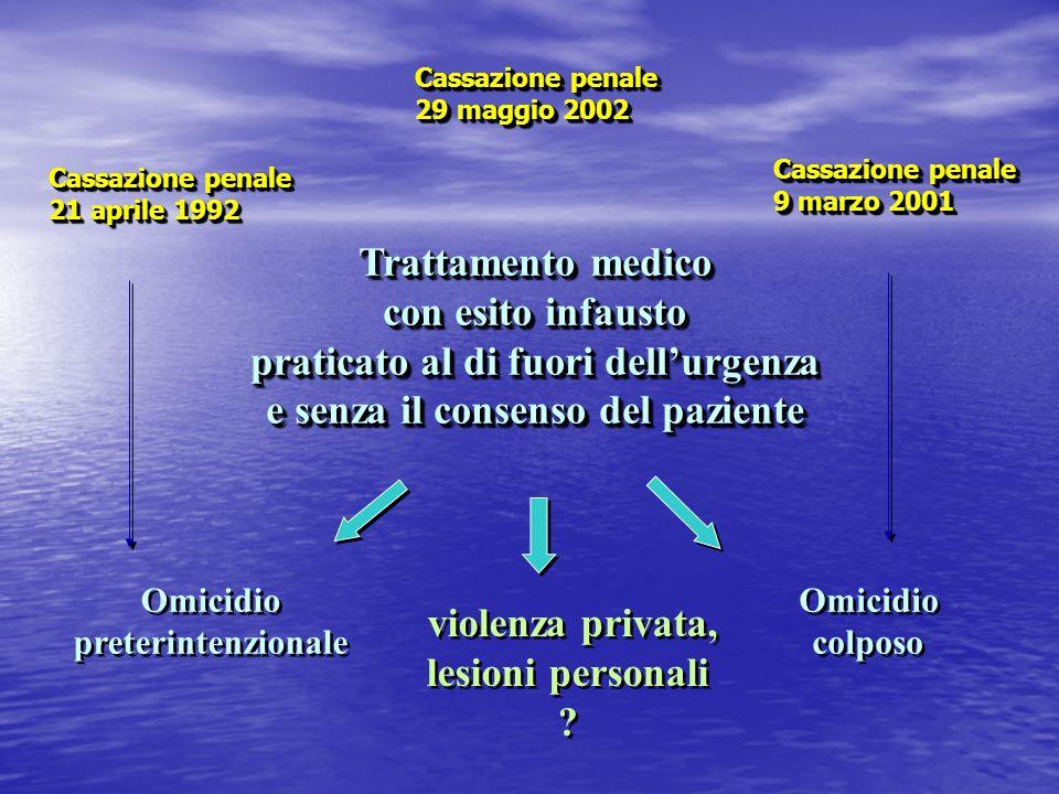 praticato al di fuori dell'urgenza e senza il consenso del paziente
