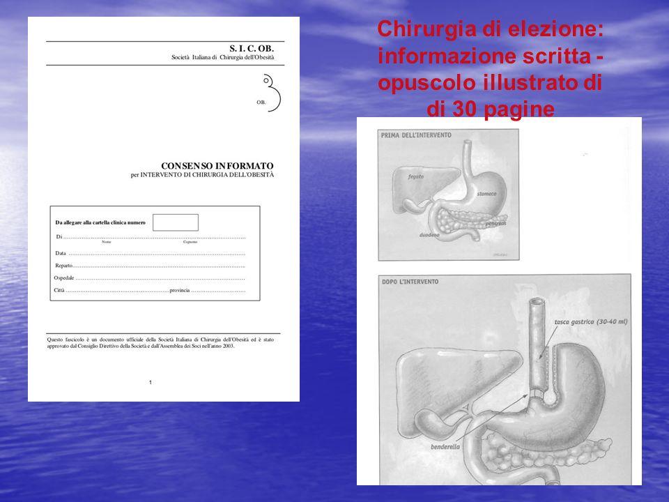 Chirurgia di elezione: informazione scritta - opuscolo illustrato di di 30 pagine