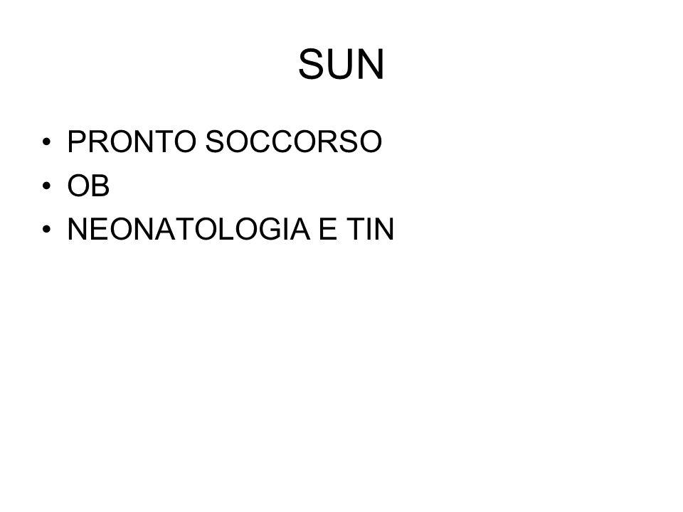 SUN PRONTO SOCCORSO OB NEONATOLOGIA E TIN