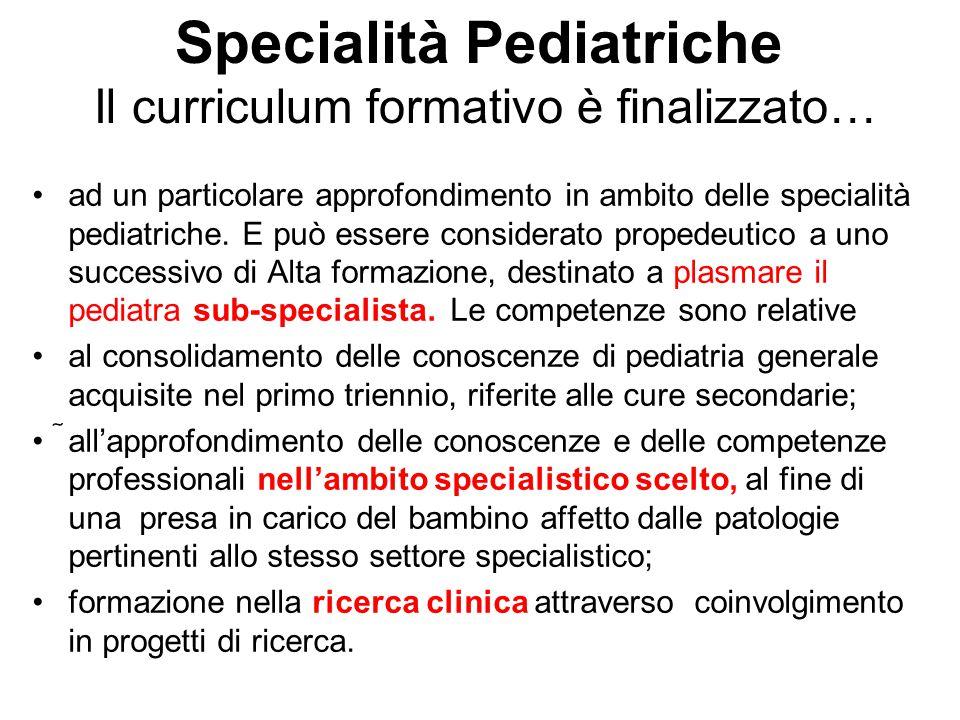 Specialità Pediatriche Il curriculum formativo è finalizzato…