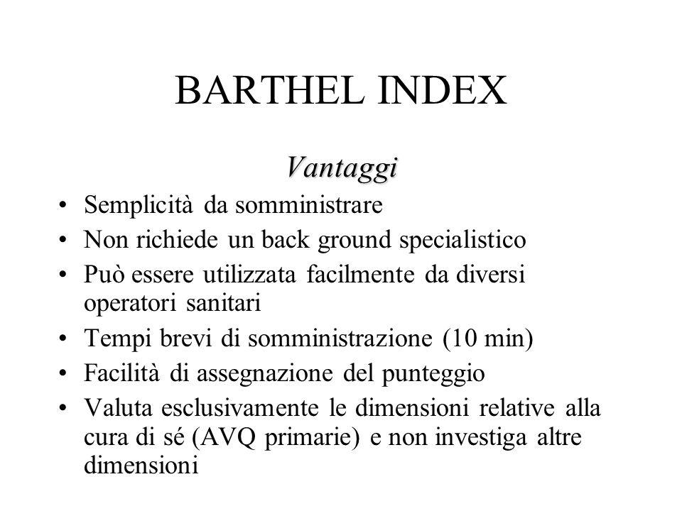 BARTHEL INDEX Vantaggi Semplicità da somministrare