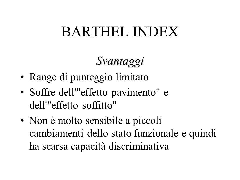 BARTHEL INDEX Svantaggi Range di punteggio limitato