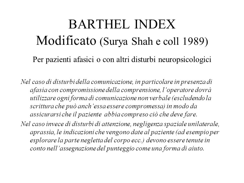 BARTHEL INDEX Modificato (Surya Shah e coll 1989)