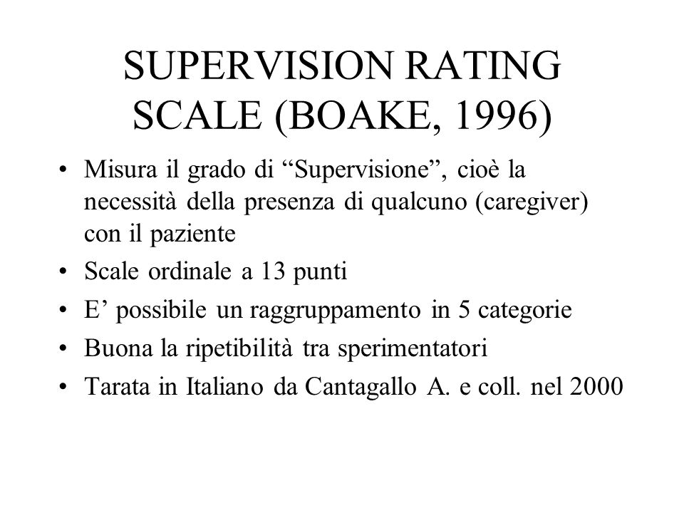 SUPERVISION RATING SCALE (BOAKE, 1996)