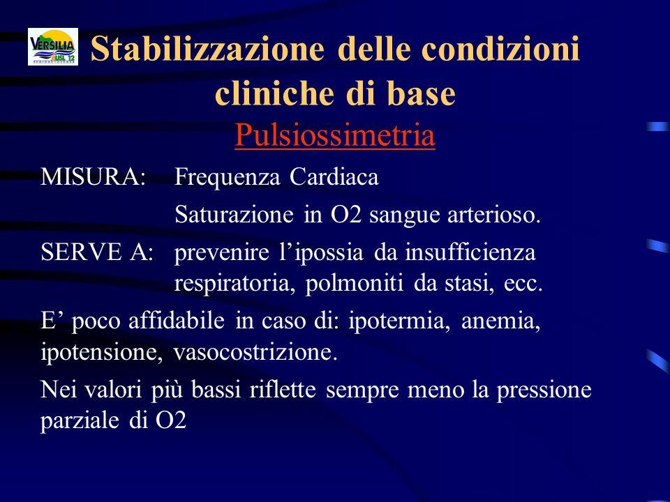 Stabilizzazione delle condizioni cliniche di base Pulsiossimetria