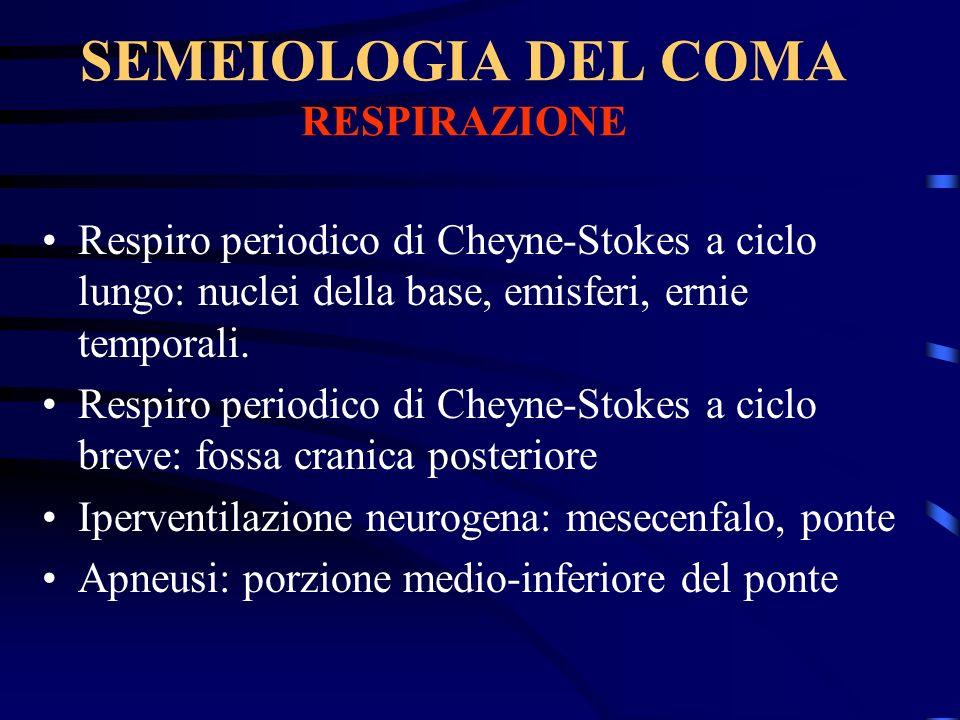 SEMEIOLOGIA DEL COMA RESPIRAZIONE