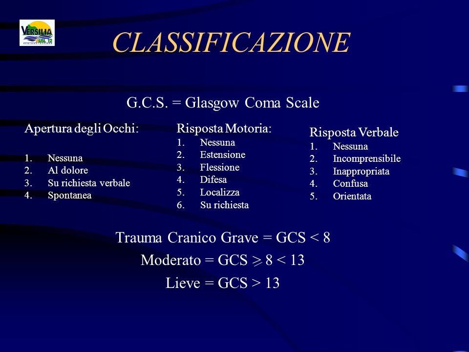 CLASSIFICAZIONE G.C.S. = Glasgow Coma Scale