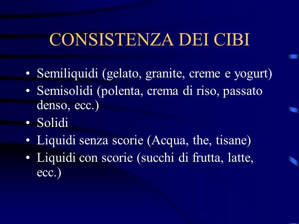 CONSISTENZA DEI CIBI Semiliquidi (gelato, granite, creme e yogurt)