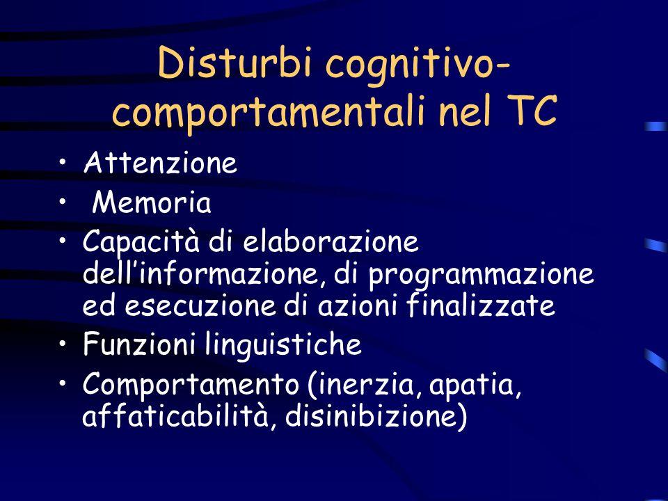 Disturbi cognitivo-comportamentali nel TC