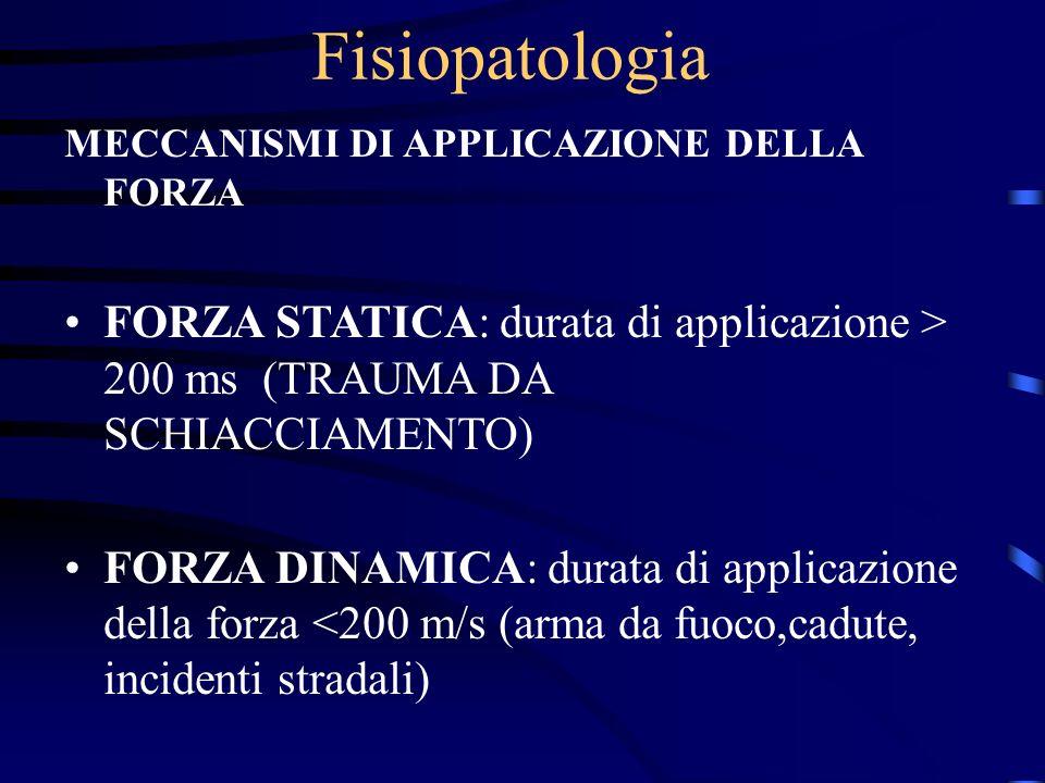 Fisiopatologia MECCANISMI DI APPLICAZIONE DELLA FORZA. FORZA STATICA: durata di applicazione > 200 ms (TRAUMA DA SCHIACCIAMENTO)