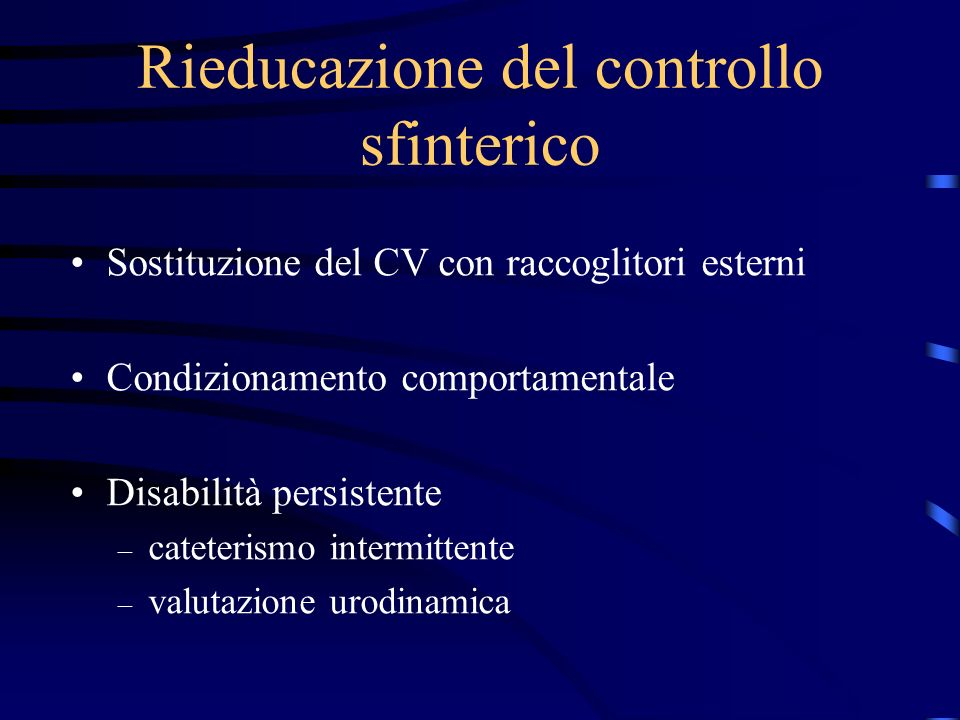 Rieducazione del controllo sfinterico