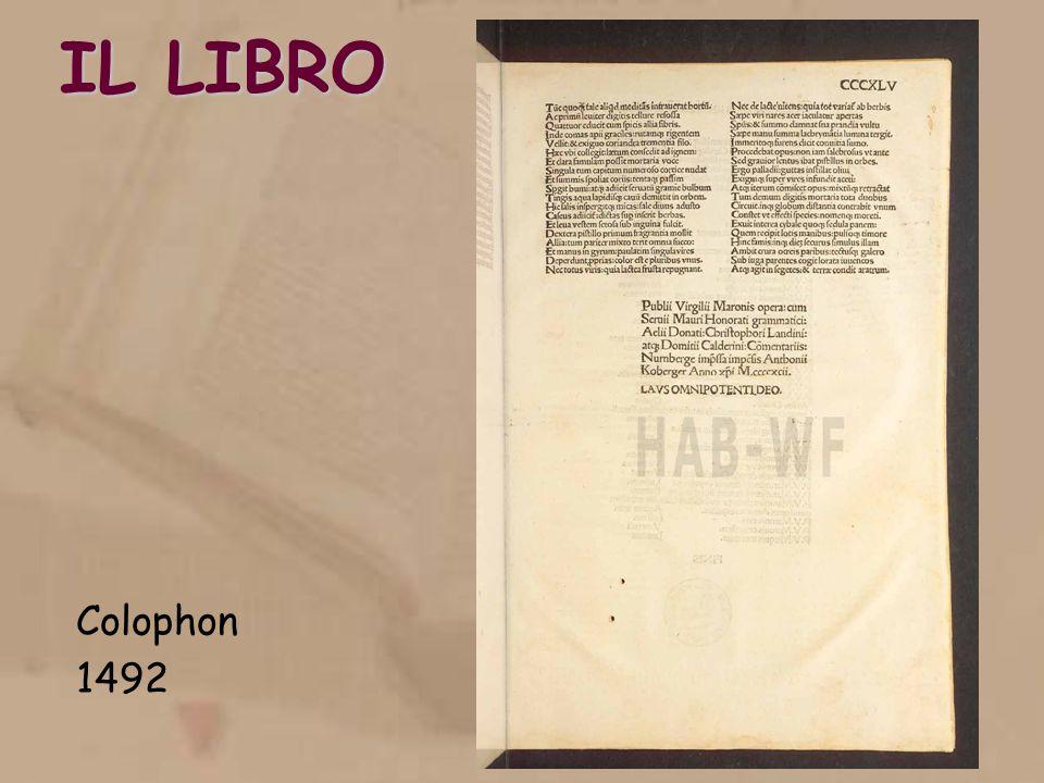 IL LIBRO Colophon 1492