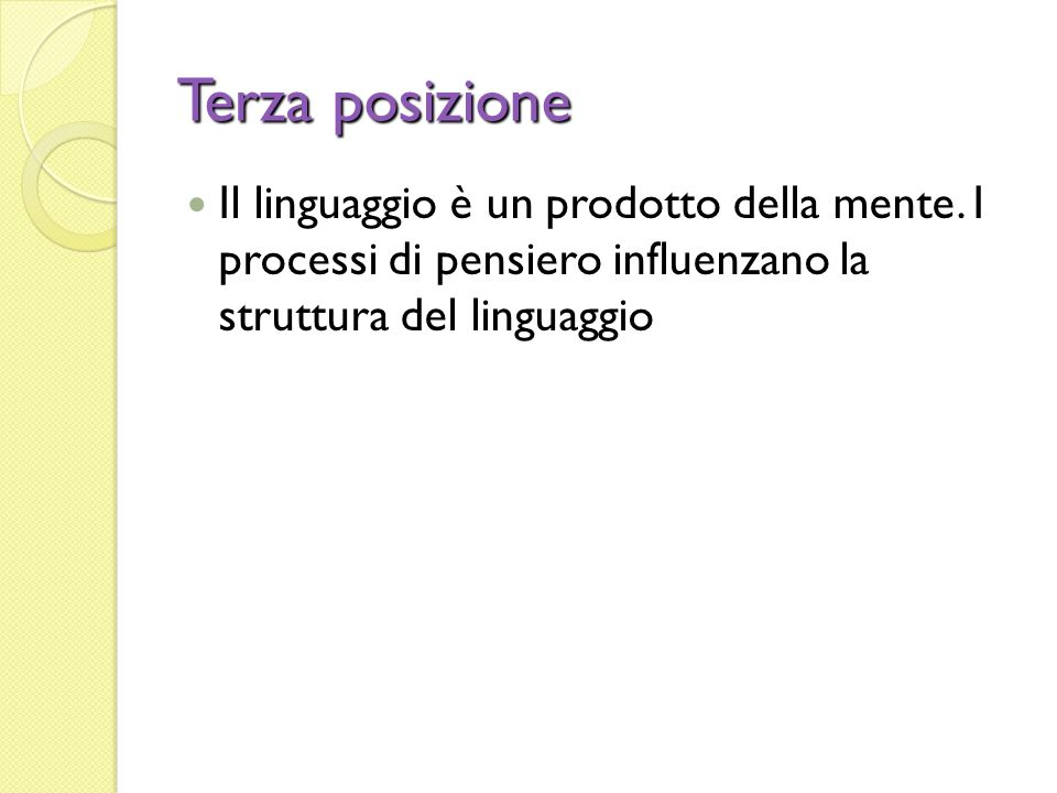 Terza posizione Il linguaggio è un prodotto della mente.