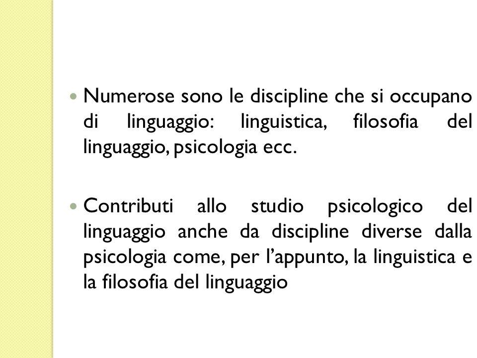 Numerose sono le discipline che si occupano di linguaggio: linguistica, filosofia del linguaggio, psicologia ecc.