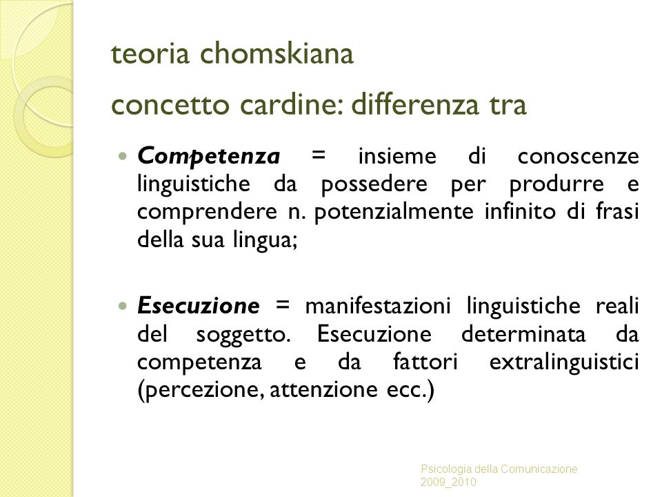 teoria chomskiana concetto cardine: differenza tra